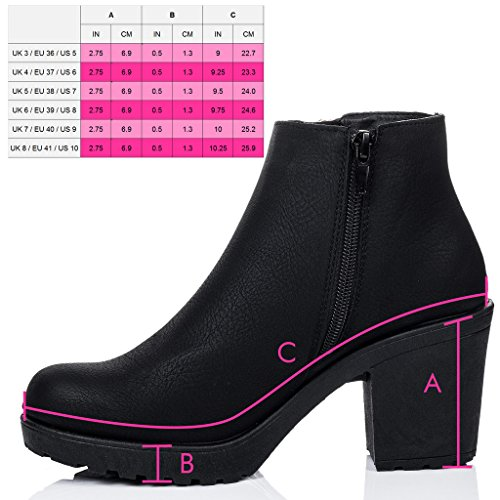SPYLOVEBUY BUXTON Femmes Tirette à Talon Bloc Bottines Chaussures Noir - Similicuir