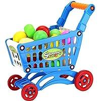 F-eshiat - Carrito de la compra, juguetes para frutas, verduras, supermercados, Hretcart, carro de la compra, carrito de almacenamiento, cesta de juguete para niños, juguete educativo (azul)