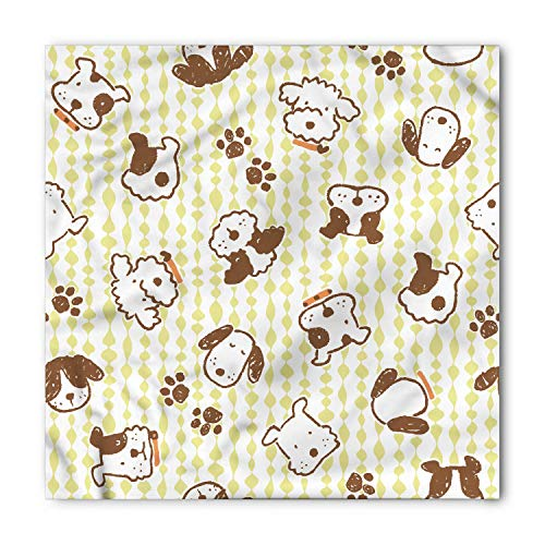 TKMSH Dog Bandana, Modern Puppy Dog Paw Pattern, Unisex Head and Neck Tie,Unisex Bandana Head and Neck Tie Neckerchief Headdress Silk-Like 100% Polyester -S (Crochet Hats Womens)