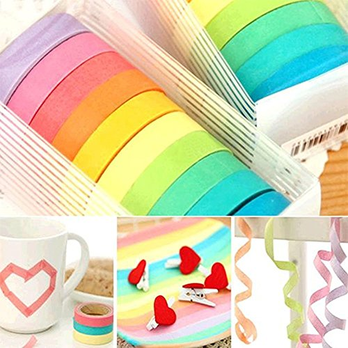 10Rollos Westeng Pegatinas Cintas Decorativas Washi Tape Arco Iris Rollos De Manualidades DIY Papel Cintas Adhesivas