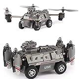 Biaobiaoc 1Set FY330 2 en 1 Air et Land Mode 0.2MP 720P WiFi FPV Militaire Hélicoptère Drone Tank Voiture Toys 2,4G 4 CH RC Quadcopter