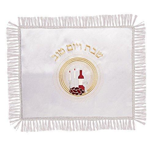 Judaica Satin Shabat Vorderrad TOV Tisch bestickt Challah Bordüre Spitze Deckel 45 55 cm