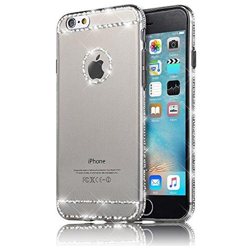 Sunroyal iPhone 5SE SE / 6C Hülle Rose Gold TPU Case Schutzhülle Silikon Rückseite Klar Clear Case Durchsichtig Bumper Zurück Bling Crystal Kirstall Diamant Strass Rhinestone Frame Rahmen Silber