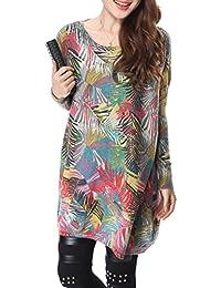 ELLAZHU Femme Pull Sweater Tricot Lâche Imprimé Plume Taille Unique SZ13