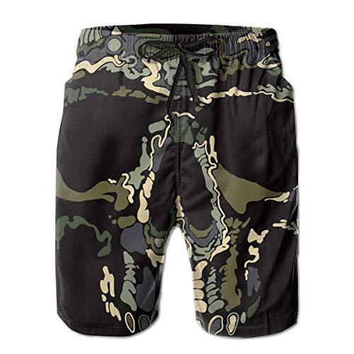 DLing Badehose für Herren Camo Skull Quick Dry Beach Board Shorts,L -