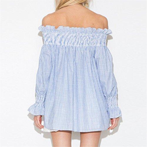 QIYUN.Z Frauen Süße Streifen-Hemd-Spitze Isabel Marant Lose Muster Weg Von Der Schulter Tops Blue and white striped