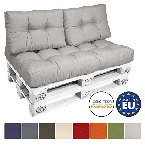 Beautissu Palettenkissen ECO Style 2-tlg Rückenkissen 120x40x10-20 cm Palettenauflage in Hellgrau Palettenpolster