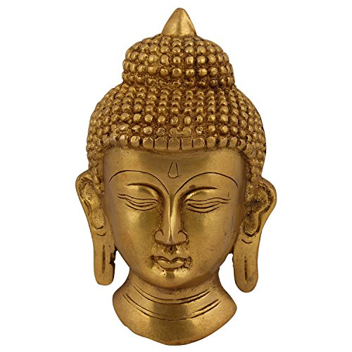 Utsav Kraft Brass Buddha Face Wall Hanging-Gold Colour