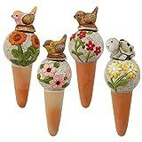 COM-FOUR® 4x Wasserspender aus Terracotta, Keramikkugeln als Bewässerung für Topfpflanzen in verschiedenen Blumen-Designs