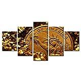 Wieoc Dipinti su Tela Pittura modulare Poster Wall Art HD Stampa moderna su tela 5 pannelli Oro Statua della libertà Soggiorno Immagini Decorazioni per la casa Cornice Stampe su tela 200x100cm
