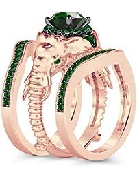 Silvernshine Milgrain Halo 9K Rose Gold Plated 1.2Ct Round Green Garnet CZ Diamond Elephant Ring