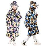 Kinder Regenmantel Regenjacke mit Kapuze für Kinder Schüler Jungen Mädchen Wasserdichte Regenkleidung Raincoat Regencape mit Rucksack Platzierung