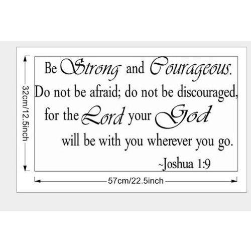 Stark Sein und mutig Nicht Be Afraid Joshua 1: 9Religiöse Wand Zitate Arts groß Wand Aufkleber Aufkleber Zitat Home Dekoration Dekor (Große Wand-aufkleber-zitate)