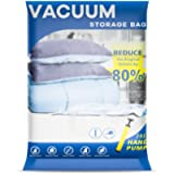 UOUNE Vacuum Storage Bags 4 Small Bags - Reusable Saving Space Compressed Vaccum Storage Bags with Pump for Clothes…