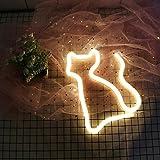 AIZESI Deko Katze LED Lampe Katze Neon Licht Katze Lampe Leuchtschilder Motiv-Lampen Dekorative Nachtlicht Mit Batterie/USB für kinderzimmer Party Weihnachten(weiße Katze)