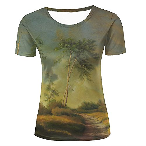 8812c489127 Womens Casual Design 3D Printed nature grass trees landscape art painting  Graphic Short Sleeve Couple T