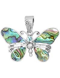 ERCE Paua/ Abalone Muschel Anhänger Schmetterling, 925 Sterling Silber, Länge 3 cm im Geschenketui, Handarbeit