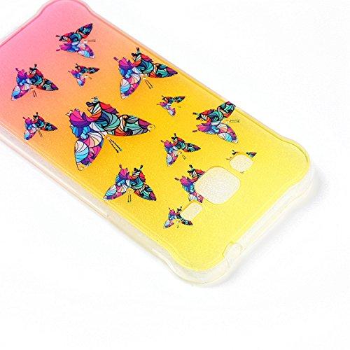 Coque Samsung Galaxy J3 Glitter, Samsung Galaxy J3 2016 Coque Brillante, SainCat Ultra Slim TPU Silicone Case pour Samsung Galaxy J3/J3 2016, Glitter Bling Diamante Strass Anti-Scratch Soft Gel 3D Hou Papillon Coloré