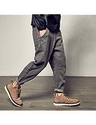 Pantalones vaqueros delgados pies harem masculino de pierna recta gris retro,XXL