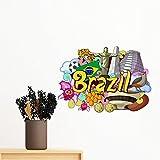 DIYthinker Fussball Oscar Niemeyer Brasilien Graffiti entfernbarer Wand-Aufkleber-Kunst-Abziehbilder Wand-DIY Tapete Für Zimmer Aufkleber 80Cm