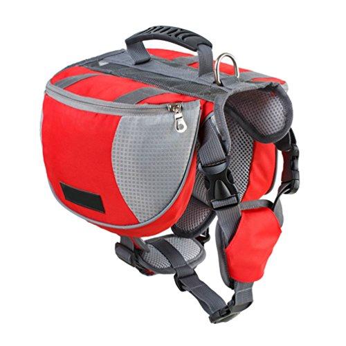 Yiiquanan Hund Rucksack Verstellbar Pack Mittelgroße & Large Hunderucksack für Wandern Camping Reise (Rot#1, Asia S)