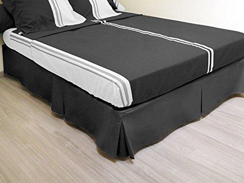 Cache sommier plateau 3 plis 160x200 cm noir