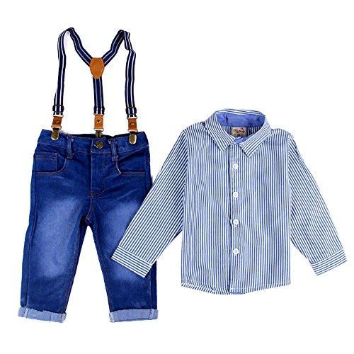 Jungen,Amlaiworld Jungen gestreift Kragen Shirt Tops Bib + Straps Jeans Overall Outfit 1Set (110, Blau) (Baby Boy Cowboy-outfit)