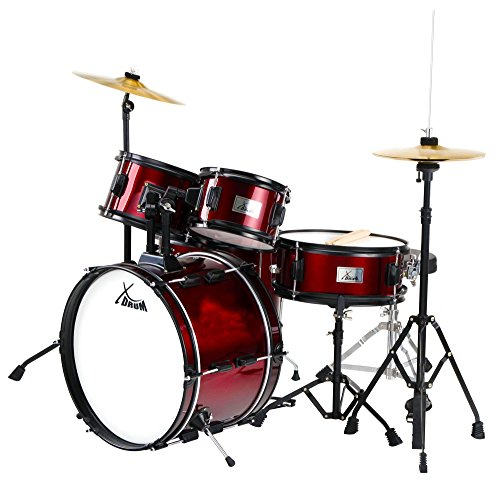XDrum Junior Pro II Kinder Schlagzeug Drumset (geeignet von 5-9 Jahren, inklusive Zubehör) Weinrot