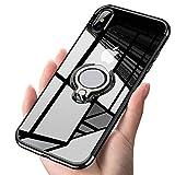 Alsoar Transparent Coque Compatible avec iPhone X/iPhone XS (5.8),Silicone Gel Anti-Choc Mince Placage Bumper Housse Lustre Métal 360° Bague Support Téléphone Voiture Magnétique Etui Case(Noir)