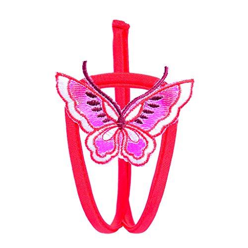 MagiDeal Donne Farfalla Modello C-string Sacchetto Perizoma Intimo Collant Slip Biancheria Intima - Rosso, taglia (Farfalla Strings)