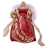 The Christmas Workshop 82000 - Puntale per Albero di Natale a Forma di Angelo, 30 cm, Colore: Rosso/Oro