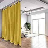 ChadMade Hängende Gardinenstange Vorhang Zimmer Teiler Kit - Groß B, für Räume 274 cm Hoch x 304 cm - 426 cm Breit (2 Panels Gelb Ösen Vorhänge 274 cm B von 264 cm H)