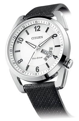Citizen AW0010-01A - Reloj analógico de cuarzo para hombre, correa de piel de borrego color negro de Citizen