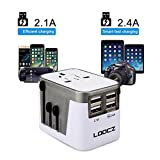 Loocz Universal Ladegerät Reiseadapter Reisestecker mit 4 USB-Ports - Internationaler Reiseadapter für Weltweit Steckdosen USA JP China CN UK EU AU Australien Wechselspannung & Überspannungsschutz,
