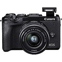 EOS M6 Mark II Systemkamera Gehäuse + EF-M 15-45mm f/3.5-6.3 IS STM Kit + elektronischer Sucher EVF-DC2 (32,5 Megapixel, 7,5 cm (3,0 Zoll) Touchscreen LCD , Digic 8, 4K Video, WLAN, Bluetooth) schwarz