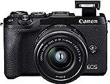 Canon EOS M6 Mark II Systemkamera (32,5 Megapixel, 7,5 cm (3,0 Zoll), Touchscreen LCD, Display, Digic 8, 4K Video, WLAN, Bluetooth) Gehäuse mit Objektiv EF-M 15-45mm F3.5-6.3 IS STM Kit schwarz -
