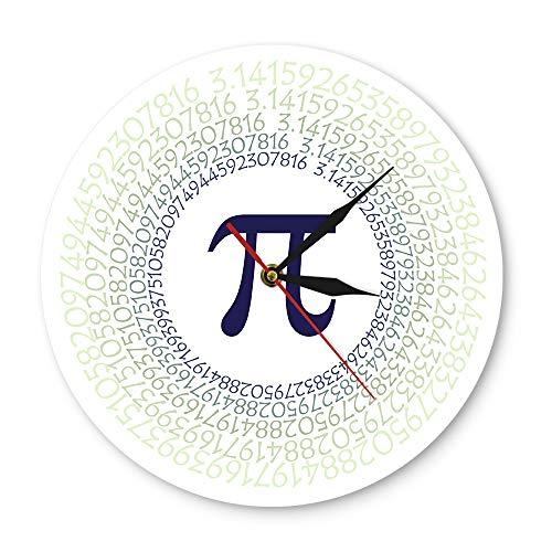 XINTANG Wanduhr Mathematische Konstante Pi griechischen Buchstaben 3,14 Wandkunst mathematisches Verhältnis zeitgenössische Wanduhr Farbe gedruckt Acryl Wanduhr