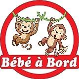 Stickersnews - Sticker autocollant auto voiture Bébé à bord Singes 16x16cm réf...