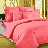 #5: 300 TC Duvet Cover - Double Size - Premium Cotton - Striped Duvet / Quilt / Comforter cover with zipper by Ahmedabad Cotton - 90 x 100 inches - Peach
