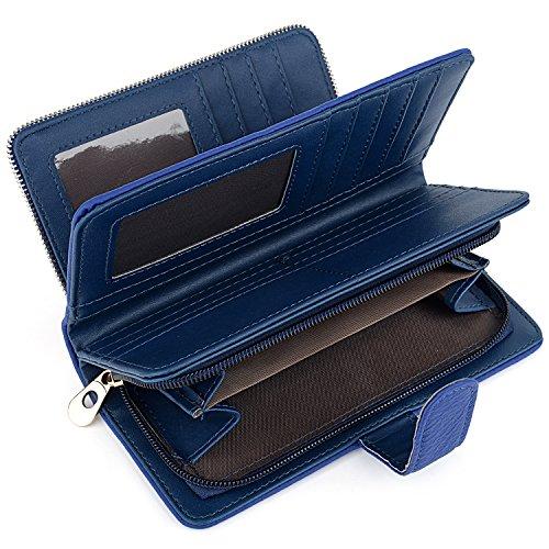 UTO Donna Portafoglio Lungo RFID Blocco Pelle Sintetica Grandi Capacità Si può mettere 15 Carte con Chiusura a Bottone Blu
