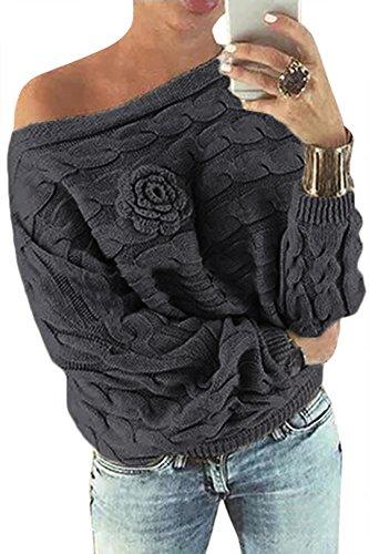 YOINS Schulterfrei Oberteile Damen Herbst Winter Off Shoulder Pullover Pulli für Damen Loose Fit mit Blumenmuster Dunkelgrau-1 L