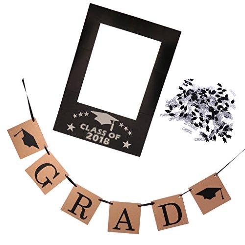 Homyl Lustige Graduation Photo Booth Props Foto Requisiten Accessoires mit Rahmen Banner und Konfetti, Perfekt zum Universität und Schule (Foto-frame-maske)