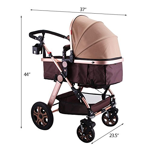 BuoQua 2in1 Baby Stroller Portable Baby Carriage Stroller Foldable Baby Stroller Adjustable High View Pram Travel System Infant Carriage
