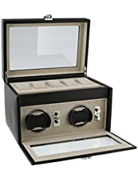 Dulwich Designs of London Connoisseur Collection Watch Winder for 2 Watch with Storage Area Above for 5 more Perfect Rolex Breitling Tag Omega Cartier Hublot etc Automatic Watches