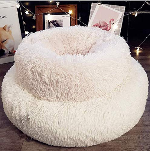 YZ66 Pet Cat Small Dog Basket Soft Bed Met House Artificial wool (S/M) (S-Outside diameter:19.6 in, Height:7.8in, White) -