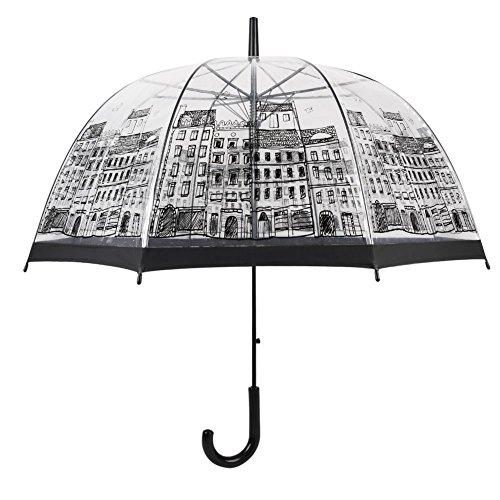 Paraguas Transparente Mujer, con Forma de Cúpula y Función Antiviento. Paraguas Vogue Burbuja Infantil, Paraguas Originales Largo, Niño and Niña