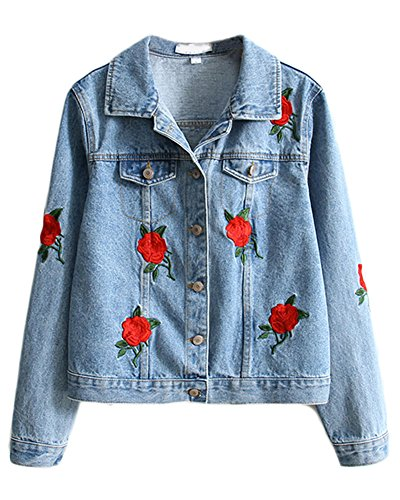 Minetom Women Clothes Fashion Short Jacket Coat Spring Autumn Long Sleeve Denim Button Closed Flower Embroidery Decoration
