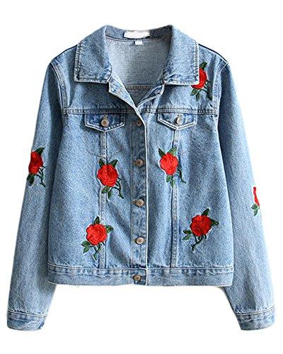 Minetom Femme Élégant Blouson Classique Bleu Denim Jacket Simple ... a9fae361e61f