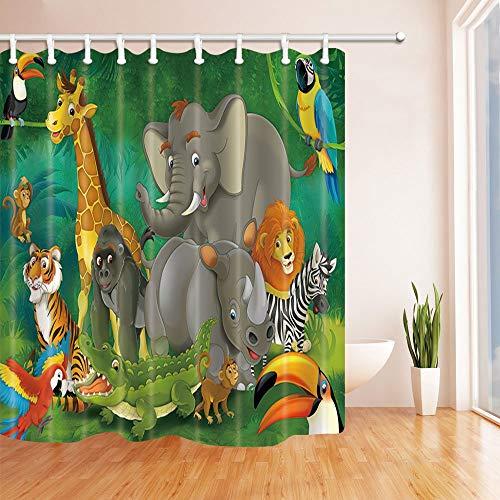 vrupi Safari - Cortinas de Ducha para niños, diseño de Elefantes y...