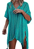 Paréo Femme Plage Mini Robes Grande Taille Tunique Pull Col V Kimono Bohême Mode Bikini Cover Up Crochet Blouse (One Size, Vert)